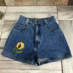 Denim shorts with sunflower patch